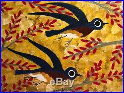 John Cornbread Anderson Original Birds contemporary Folk Outsider Art Painting