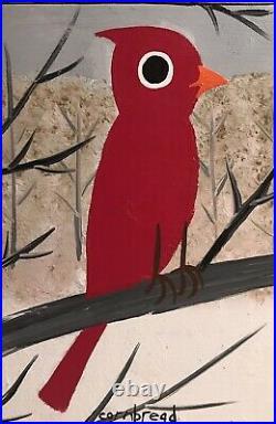 John Cornbread Anderson Original Cardinal Folk Outsider Art Painting