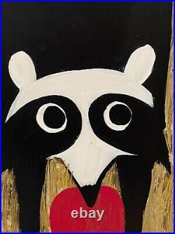 John Cornbread Anderson Original Coon Eating App Folk Outsider Art Painting