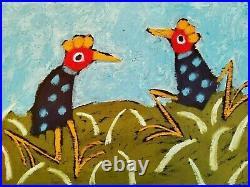 John Sperry Outsider Southern Primitive Folk Art Brut Painting Funkadelic birds