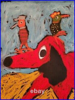 John Sperry Southern Primitive Folk Art Oil Painting Framed Red Dog Express