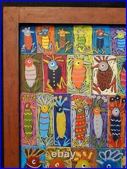 John Sperry Southern Primitive Folk Art Painting Framed Birds Conversations