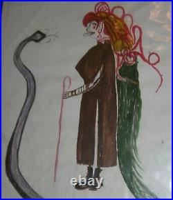 John Toney FOLK ART PAINTING OUTSIDER VINTAGE Woman with Snake 1995