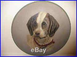 LARGE 14 ANTIQUE 1800`s FOLK ART HAND PAINTED DOG PAPER MACHE PAINTING PLATE