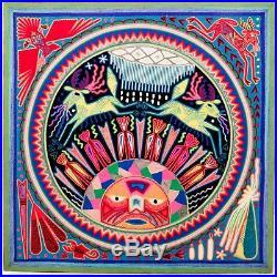 LARGE HUICHOL YARN PAINTING Wixaritari Original Mexican Folk Art 24 x 24