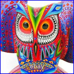 LARGE OWL Oaxacan Alebrije Wood Carving Mexican Art Sculpture Painting Decor