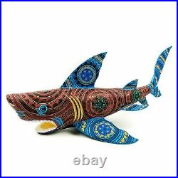 LARGE SHARK Oaxacan Alebrije Wood Carving Mexican Art Sculpture Painting