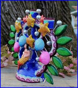 La Sirena Mermaid Candelabra Handmade & Hand Painted Puebla Mexican Folk Art