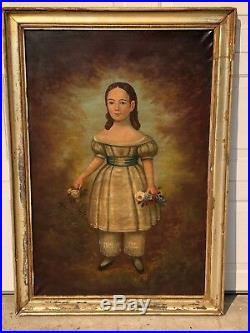 Large 19thC Antique Folk Art O/C Portrait Painting Young Girl Standing Circa1850