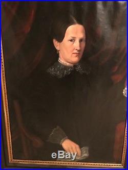 Large 19th Century Antique Oil Painting Portrait Lady Woman Folk Art Primitive F
