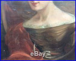 Large Antique Early 19thC American Folk Art Portrait Woman In Period Clothing