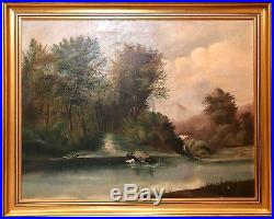Large Antique Folk Art Landscape Oil Painting on Canvas The Ford by WM Daly