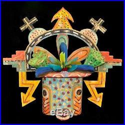 Large Hopi Folk Art Mask by Gregory Lomayesva, Hand-Painted Wood & Feathers 21h