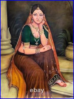 Large Original Indian Oil Painting Rajasthani Art Queen Portrait