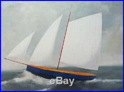 Large Paul Kitchin Lynchburg, VA Folk Art Nautical Ship Oil Painting