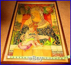 Large Vintage Folk Art Oil (on Board) Painting Of Madonna And Child 29 X 19