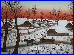 Large Vtg Josip Horvat Zdalski Painting On Glass Museum Quality Folk Art Winter