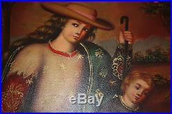 Latin American Folk Art Madonna/Mother, Child, Lambs Painting in Dark Wood Frame