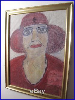 Lee Godie Rare Outsider Folk Art Vintage Portrait Painting Drawing Framed