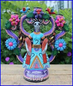 Lg Frida Kahlo Day of the Dead Candelabra Handmade Hand Painted Mexico Folk Art