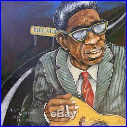 Lightnin' Hopkins Texas Guitar Blues Original Folk Art Painting by Lennie Jones