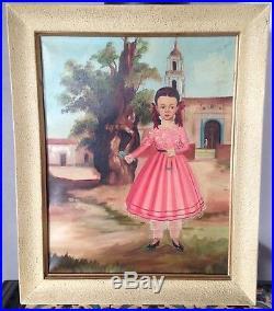 Lilia Carrillo Antique Mexican Folk Art Painting Style of Renteria & Labios