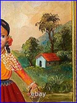 Lilia Carrillo Original Oil Painting Mexican Folk Art Girl Picking Flowers