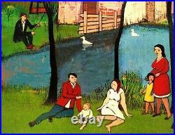 Listed DUTCH FOLK ART PAULINE BRAAT Sd ORIG O/C VILLAGE SCENE BER MENGELS WIFE