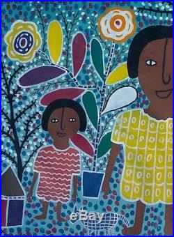 Louisiane St Fleurant Original Folk Primitive Naive Painting Art Haitian 30x20