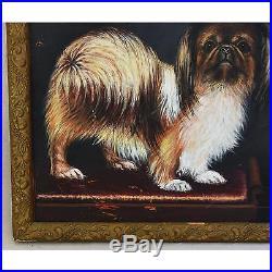 Lovely Charming Antique Folk Art Dog Oil Painting