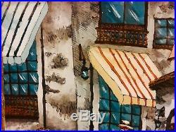 MCM Folk Art Original Reverse Painting On Glass Mexican Village Signed 19.5x16