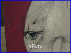 MICHAEL BANKS MODERN FOLK ART PAINTING ABSTRACT FACE 16 x 24