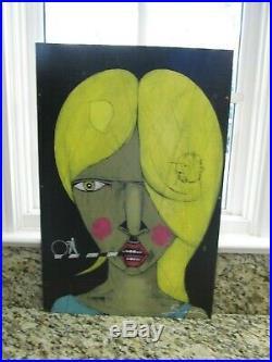 MICHAEL BANKS Outsider ART GIRL PAINTING ABSTRACT FOLK ALABAMA 16 x 24