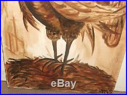 M. S. Singing Rooster Large Original Oil On Canvas Folk Art Painting