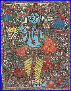 Madhubani Krishna Folk Painting Handmade Indian Tribal Mithila Bihar Ethnic Art