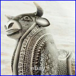 Magia Mexica A1846 Bull Alebrije Oaxacan Wood Carving Painting Handcrafted