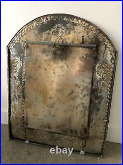 Mexican Folk Art, Large Painted Tin Mirror with doors from San Miguel de Allende