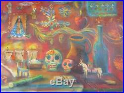 Mexican Folk Art M Hernandez Magical Day Of The Dead Altar Landscape Painting