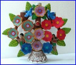Mexican Folk Art Painted Clay Adam Eve Tree of Life Candle Arbol de Vida 14