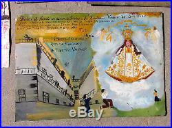 Mexican Folk Art Painting On Tin Circa 1900's Retablo Devotional Antique