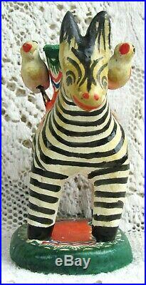 Mexican Folk Art Tree of Life ZEBRA & Bird Candle Holder Pottery Hand-Painted