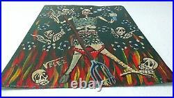 Mexican Folk Art Valez Hand Painted Tin Metal Retablo Catrina Day of Dead 12
