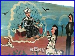 Mexican Folk Art Valez Hand Painted Tin Metal Retablo Santo Saint St Francis 12