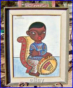 Mexican Folk Art Watercolor, Seated Boy with Sombrero, L/A Jose Illa Desetvin
