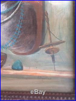 Mexican Folk Oil Painting Hector Aguilar Deer Silver Turquoise Tramp Art Frame