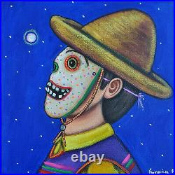 Mexican Painting German Rubio Folk art Mexican day of the dead boy with mask