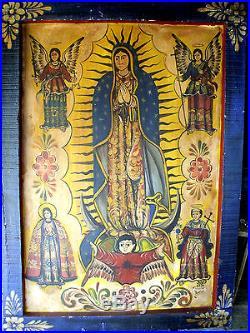 Mexican Retablo Our Lady of Gaudalupe Spiritual Folk Art Painting Javier Ramos