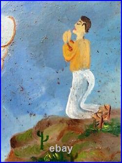 Mexican Retablo Thanks St Nicolas Saved fr Train Wreck Folk Art Ex-Voto Painting