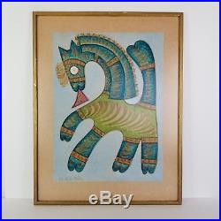 Mid Century Horse Painting Jose Maria De Servin Mexican Folk Art Turquoise Vtg