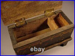 Miniature Paint Decorated Blanket Chest, Trinket Box or Document Box Folk Art